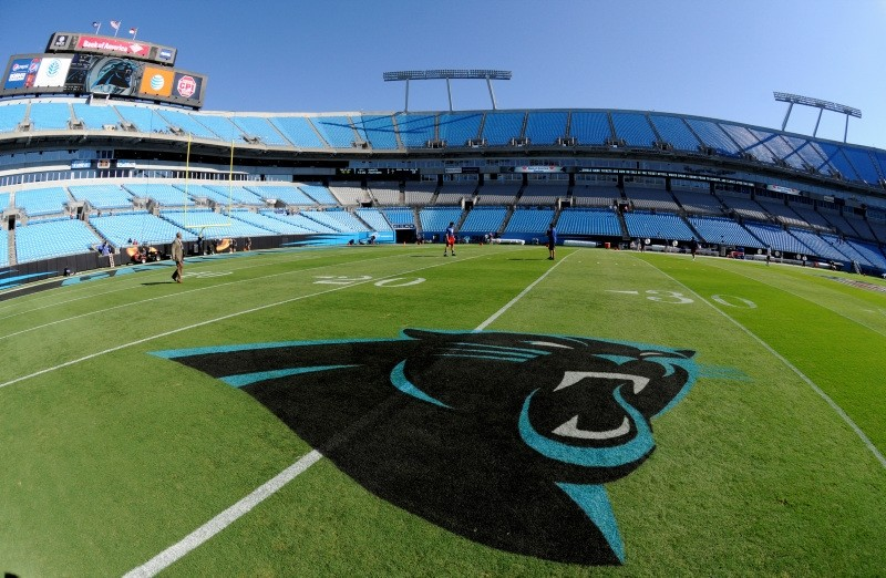 In this Sept. 22, 2013, file photo, a Carolina Panthers logo is displayed on the field at Bank of America Stadium prior to an NFL football game between the Carolina Panthers and the New York Giants in Charlotte, N.C. (AP Photo)