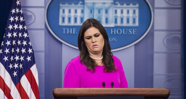 White House Press Secretary Sarah Huckabee Sanders speaks to the media about the FBI's indictment of former Trump campaign chairman Paul Manafort. (AP Photo)