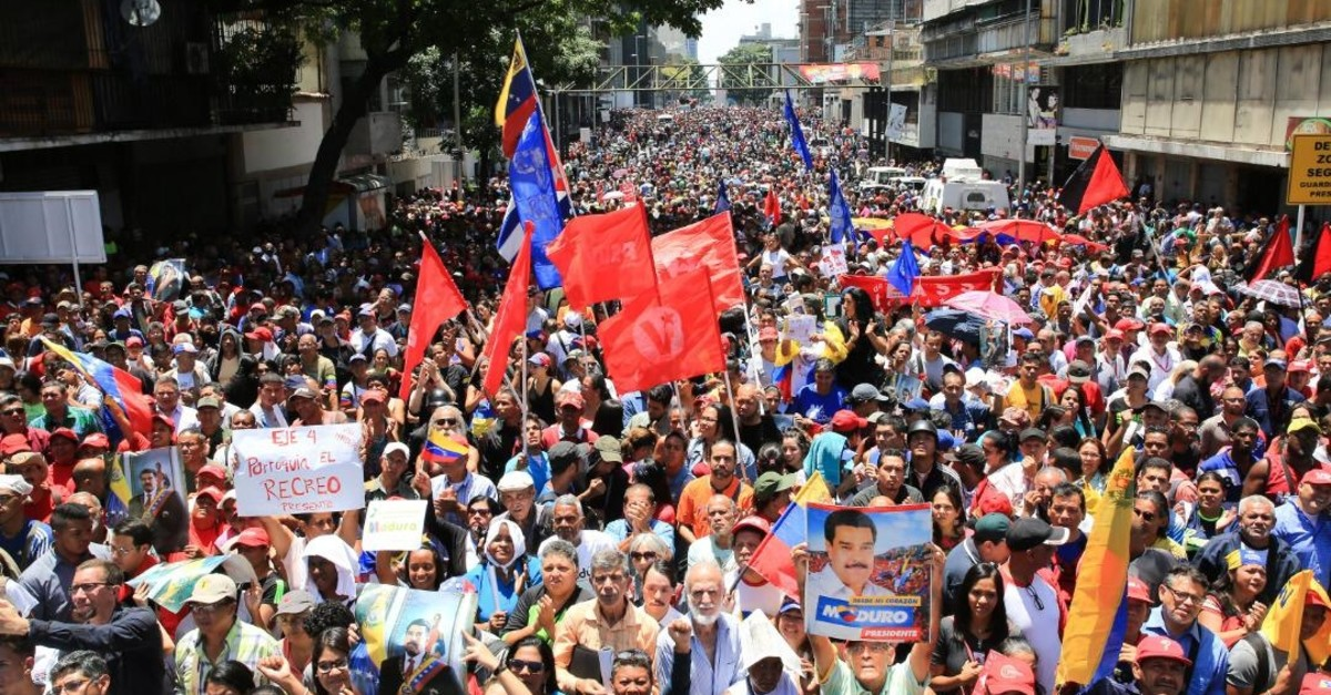 Supporters of Venezuela's President Nicolas Maduro take part in a rally in support of his government in Caracas, Venezuela, April 30, 2019.
