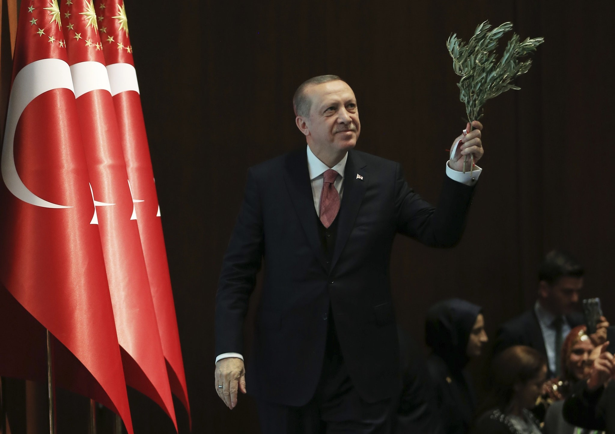 President Recep Tayyip Erdou011fan holds an olive branch as he goes on stage to deliver a speech in Ankara.