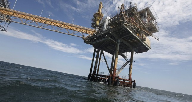 An oil rig in the Gulf of Mexico near the Chandeleur Islands, off the Southeastern tip of Louisiana.