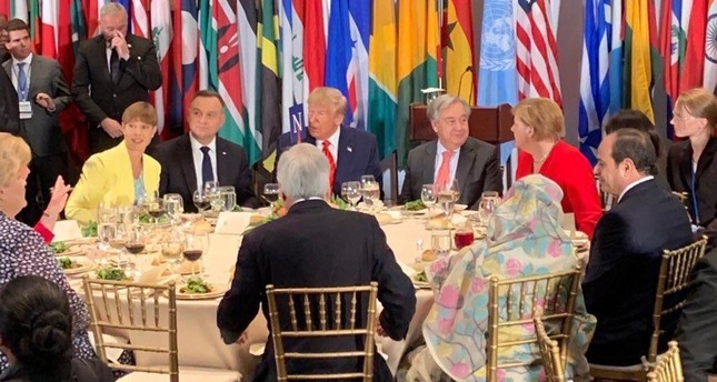 The empty chair on the left was originally reserved for Erdoğan