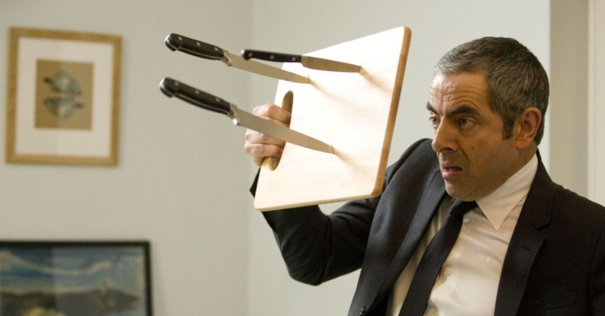 Prominent British actor Rowan Atkinson stars as Johnny English in a scene from ,Johnny English Reborn,, the second series of the cult British comedy movie.