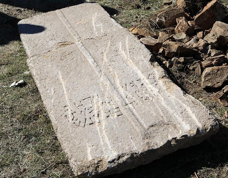 Sarcophagus cover featuring Greek writing discovered in Turkey's Gu00fcmu00fcu015fhane, Nov. 2, 2017 (AA Photo)