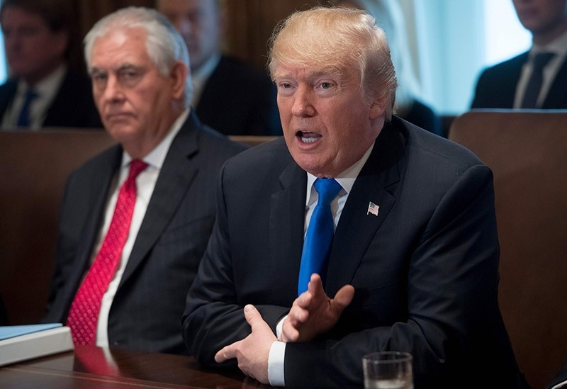 This file photo taken on December 20, 2017 shows US President Donald Trump speaking alongside Secretary of State Rex Tillerson (L) during a Cabinet Meeting in the Cabinet Room at the White House in Washington, DC. (AFP Photo)