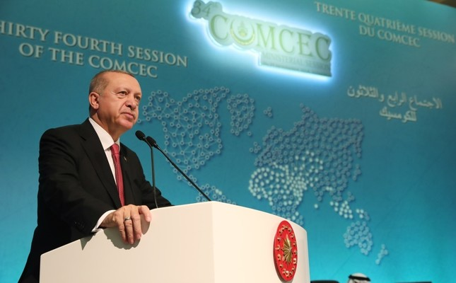President Recep Tayyip Erdoğan speaks at the 34th meeting of the Standing Committee for Economic and Commercial Cooperation of the Organization of Islamic Cooperation COMCEC Ministerial Session in Istanbul, yesterday.