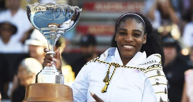 Serena Williams poses with the ASB Trophy after winning her finals singles match against Jessica Pegula at the ASB Classic in Auckland, Jan. 12, 2020. AP Photo