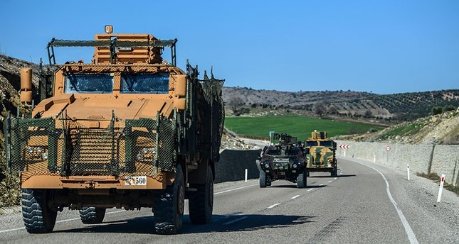 A Turkish military convoy transports soldiers to the Turkish border on Jan. 31, 2018. (AFP Photo)