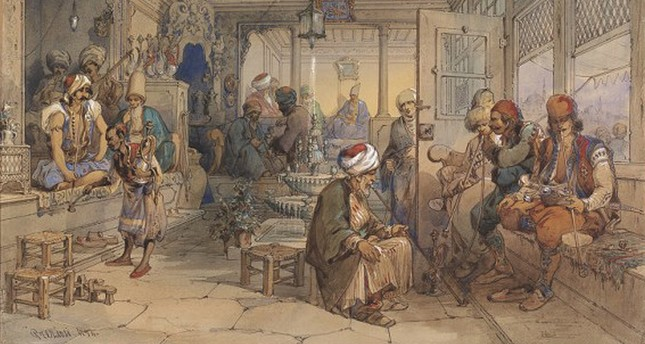 Depiction of an Ottoman coffeehouse by Amadeo Preziosi, 1854.