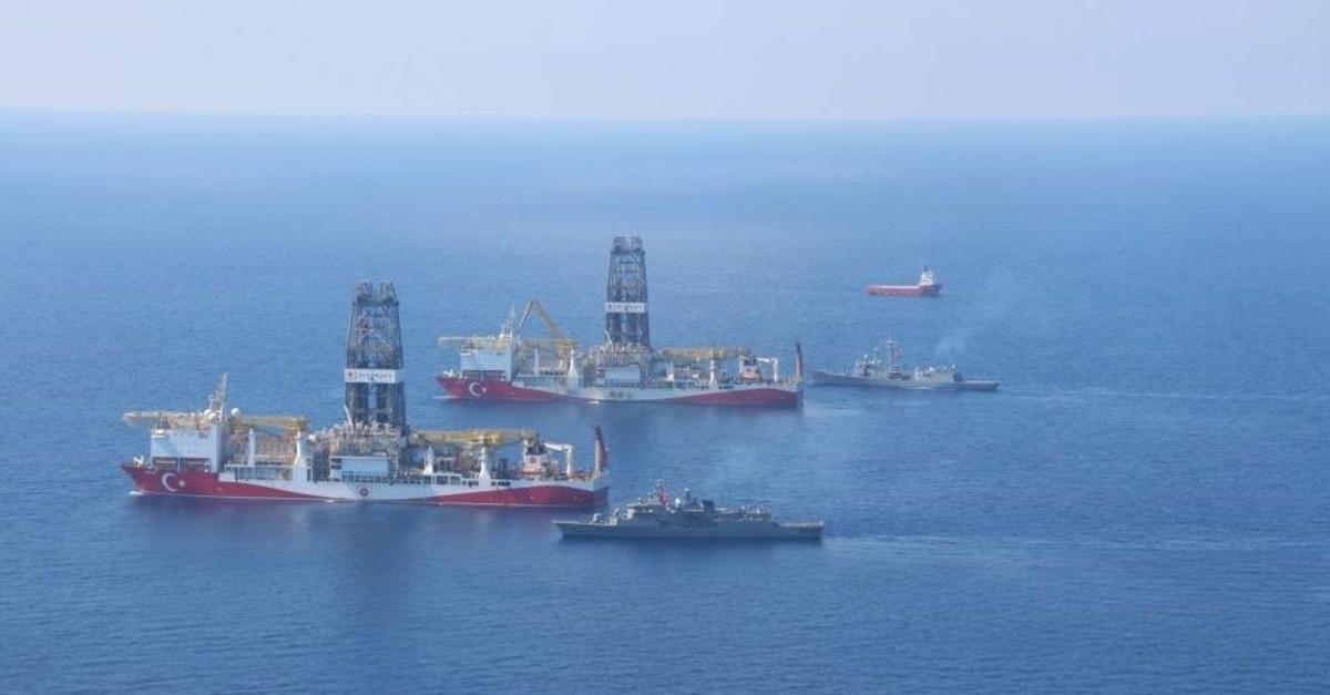 Turkey's drillships Fatih and Yavuz in the Eastern Mediterrenean along with Turkish navy vessels. ( IHA File Photo)
