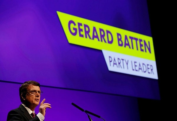 UKIP leader Gerard Batten speaks during the UKIP party conference in Birmingham, Britain September 21, 2018. (Reuters Photo)