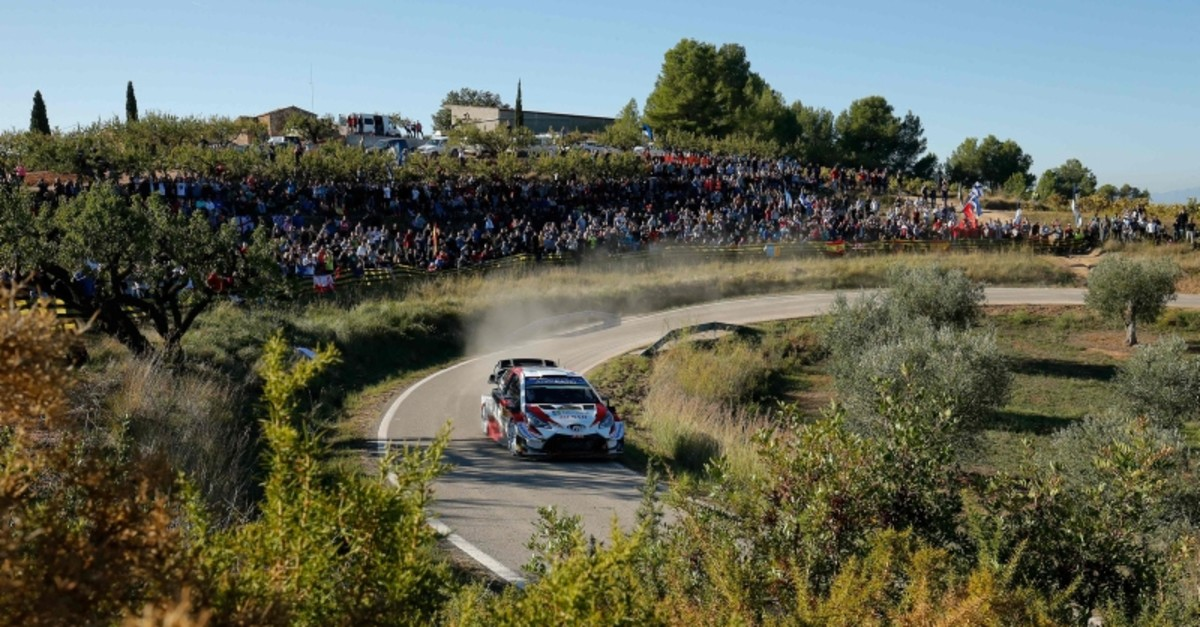 Estonian driver Ott Tanak steers his Toyota Yaris WRC assisted by Estonian co-driver Martin Jarveoja during the third day of the Catalonia 2019 FIA World Rally Championship on October 26, 2019 in Rodonya, near Salou. (AFP Photo)