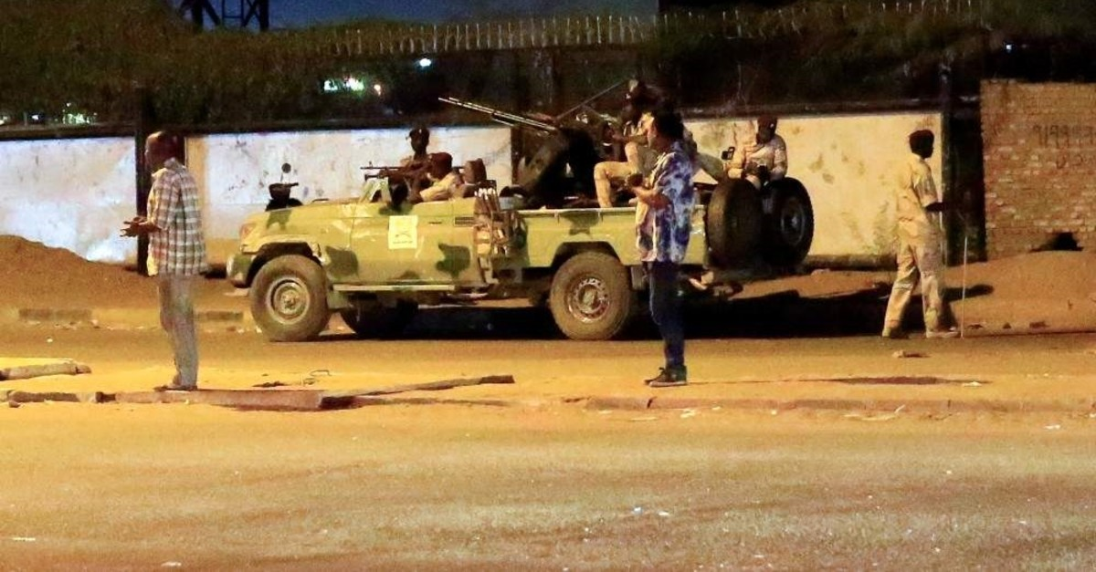 Members of the Sudanese Rapid Support Forces (RSF) are seen near the area where gunmen opened fire outside buildings used by Sudan's National Intelligence and Security Service (NISS), Khartoum, Jan. 14, 2020. (REUTERS Photo)