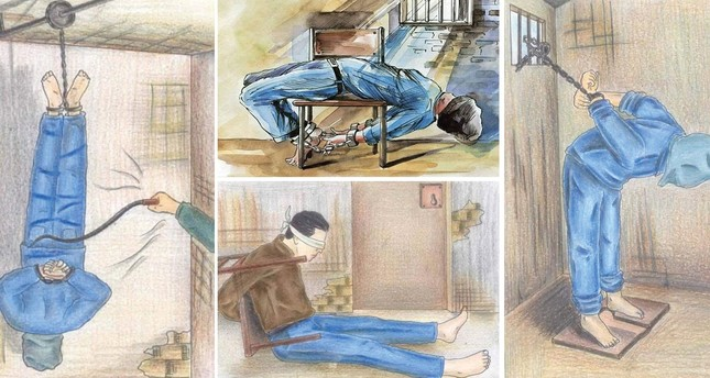 The sketches by 21-year-old Marwan Nabil, who was kept in prison for 12 months and then had to flee to Turkey, depict the inhumane treatment and torture of prisoners in Egyptian jails.