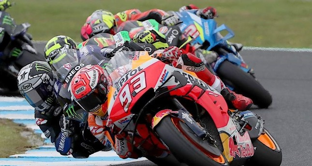 Marc Marquez races in the Australian motorcycle Grand Prix at Phillip Island, Oct. 27, 2019. AFP Photo