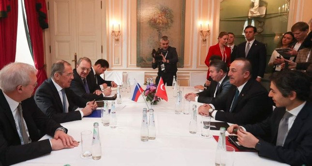 Foreign Minister Mevlüt Çavuşoğlu and Russian counterpart Sergey Lavrov hold a meeting on Idlib on the sidelines of the 56th Munich Security Conference in Germany, Feb. 15, 2020. AA Photo