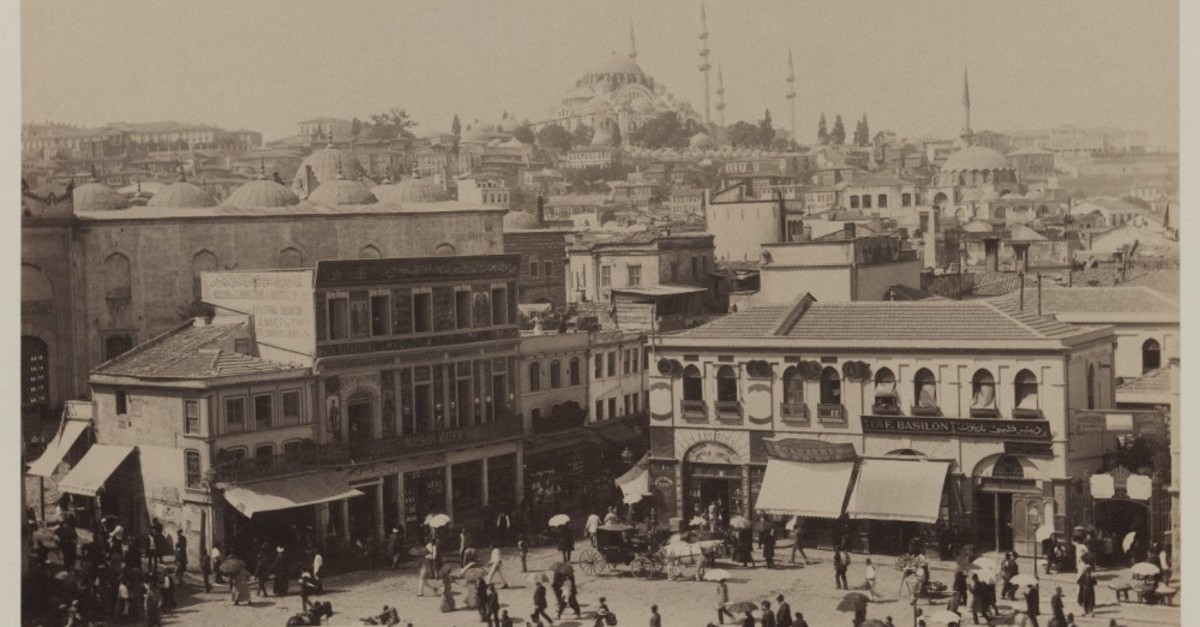 Pascal Sebah (Turkish, 1823-1886). u201cSuleymaniye Mosque and Eminonu Square,u201d ca. 1860-1880. Gelatin silver photograph, sheet- height- 12 inches, photo courtesy of the Brooklyn Museum.