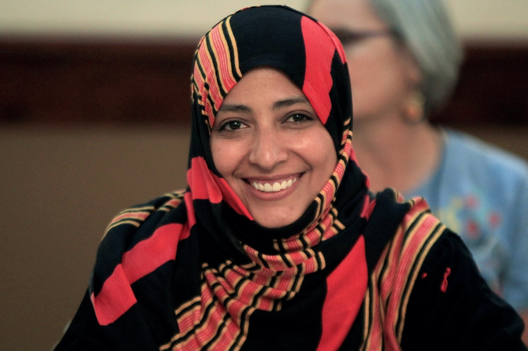 Nobel Peace Prize laureate Tawakkol Karman of Yemen smiles during a news conference as part of the Nobel Womenu2019s Initiative to gather a first-hand account of the ongoing violence against women, Tegucigalpa, Honduras, Oct. 24, 2017.