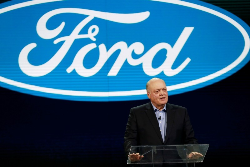 In this Jan. 14, 2018, file photo Ford President and CEO Jim Hackett prepares to address the media at the North American International Auto Show in Detroit.  (AP Photo)