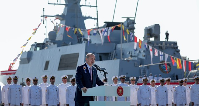President Recep Tayyip Erdoğan speaks at the commissioning ceremony of the fourth domestically produced corvette TCG Kınalıada and the steel-cutting ceremony for the first MİLGEM-class ship to be sold to Pakistan, Istanbul, Sept. 29, 2019.