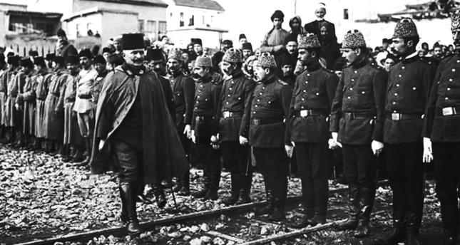 Fahreddin Pasha inspects his troops during World War I.