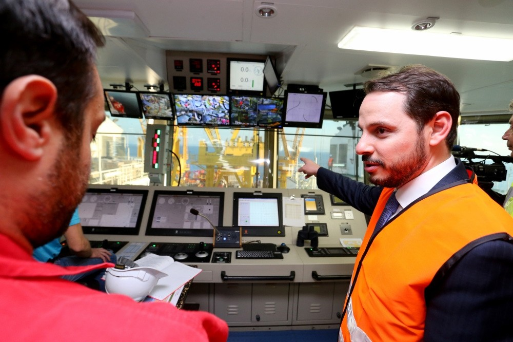 Energy and Natural Resources Minister Berat Albayrak (above) conducted on-site inspections on the vessel carrying out the TANAP project's u00c7anakkale underwater section.
