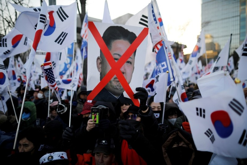 Members of a South Korean conservative civic group take part in an anti-North Korea protest in Seoul, South Korea, Dec. 8, 2018. (Reuters Photo)