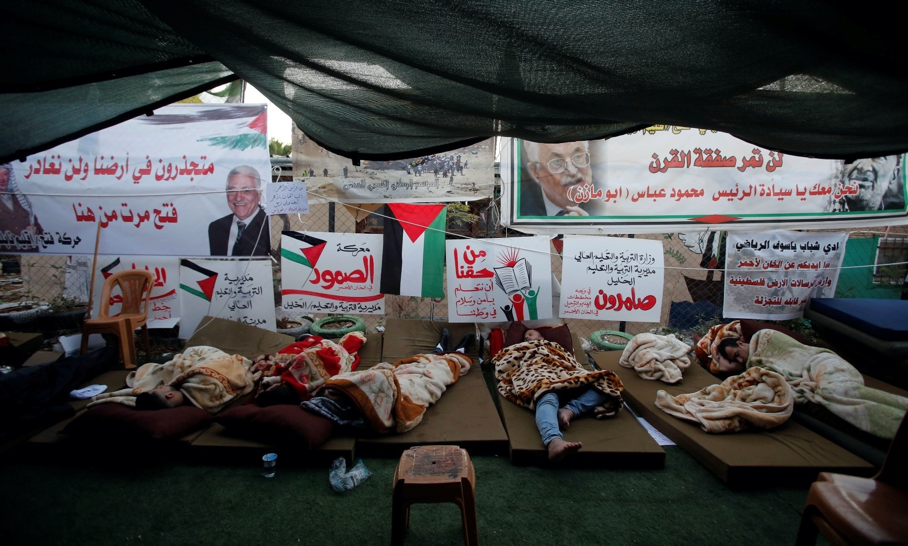 Activists protesting against Israelu2019s plan to demolish the Palestinian Bedouin village of Khan al-Ahmar, sleep in a tent in Khan al-Ahmar, in the occupied West Bank, Sept. 16.