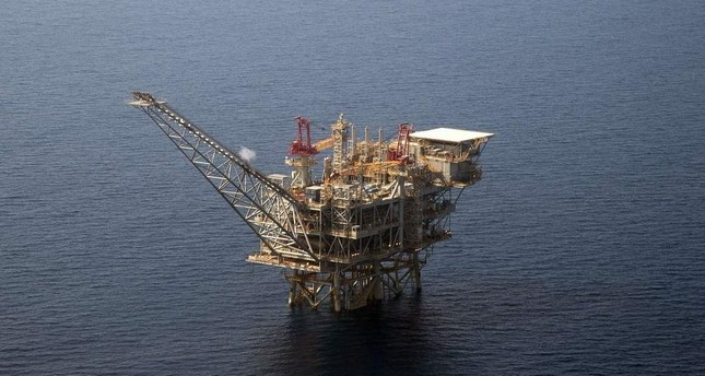 An aerial view of the Tamar gas-drill platform in the Mediterranean Sea off the coast of Israel. AFP Photo