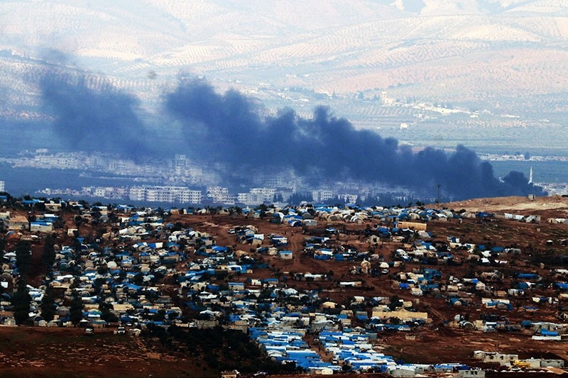 This photo dated March 4, 2018, shows the town of Jandaris after Turkish strikes hit YPG/PKK targets, in northwestern Syria. (IHA Photo)