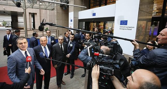 EU Minister Ömer Çelik, Foreign Minister Mevlüt Çavuşoğlu, and Agriculture Min. Mehdi Eker speak to media as they arrive in Brussels, Belgium, June 30, 2016 (EPA Photo)