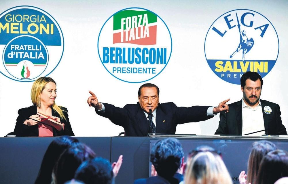 Leader of Brothers of Italy Giorgia Meloni, head of Forza Italia Silvio Berlusconi and leader of the North League Matteo Salvini, give a joint press conference at the Tempio di Adriano, Rome, March 1.