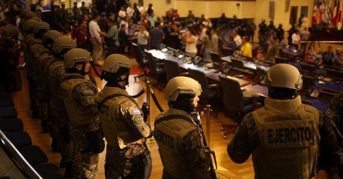 Soldiers stand inside the national congress as the president of El Salvador Nayib Bukele holds a special session, San Salvador, Feb. 9, 2020. (REUTERS Photo)