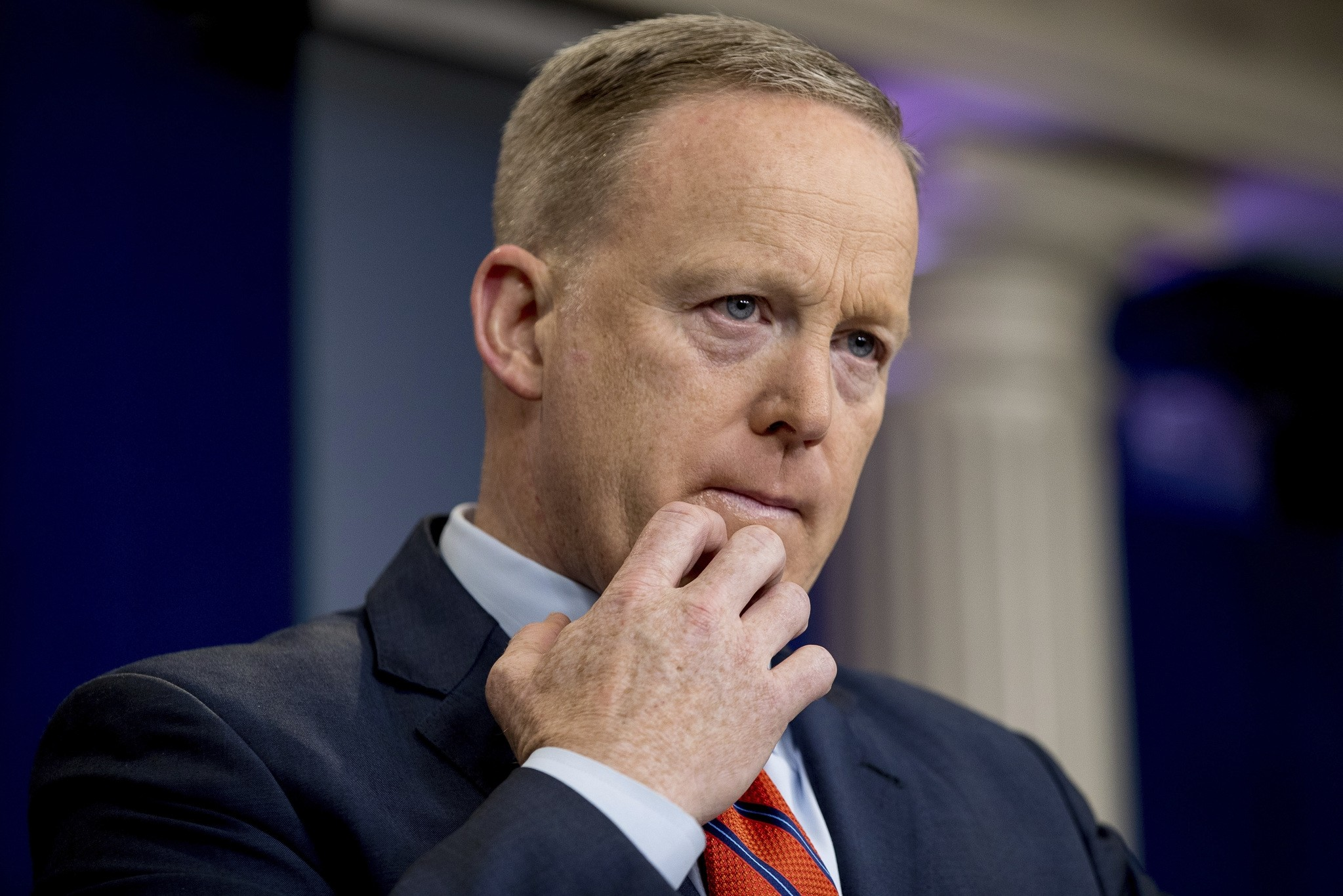 Spicer pauses while talking to the media during the daily press briefing at the White House in Washington, Tuesday, April 11, 2017. (AP Photo)