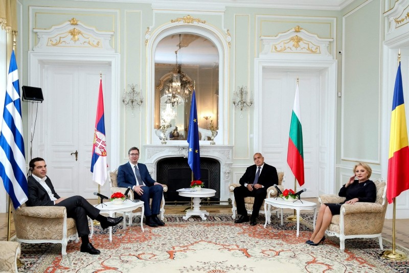 This Nov. 2, 2018 handout photo, shows Greek PM Alexis Tsipras, Serbian President Aleksander Vucic, Bulgarian PM Boyko Borisov and Romanian PM Viorica Dancila during a summit in Varna, Bulgaria. (AFP Photo/Bulgarian Government Press Office)
