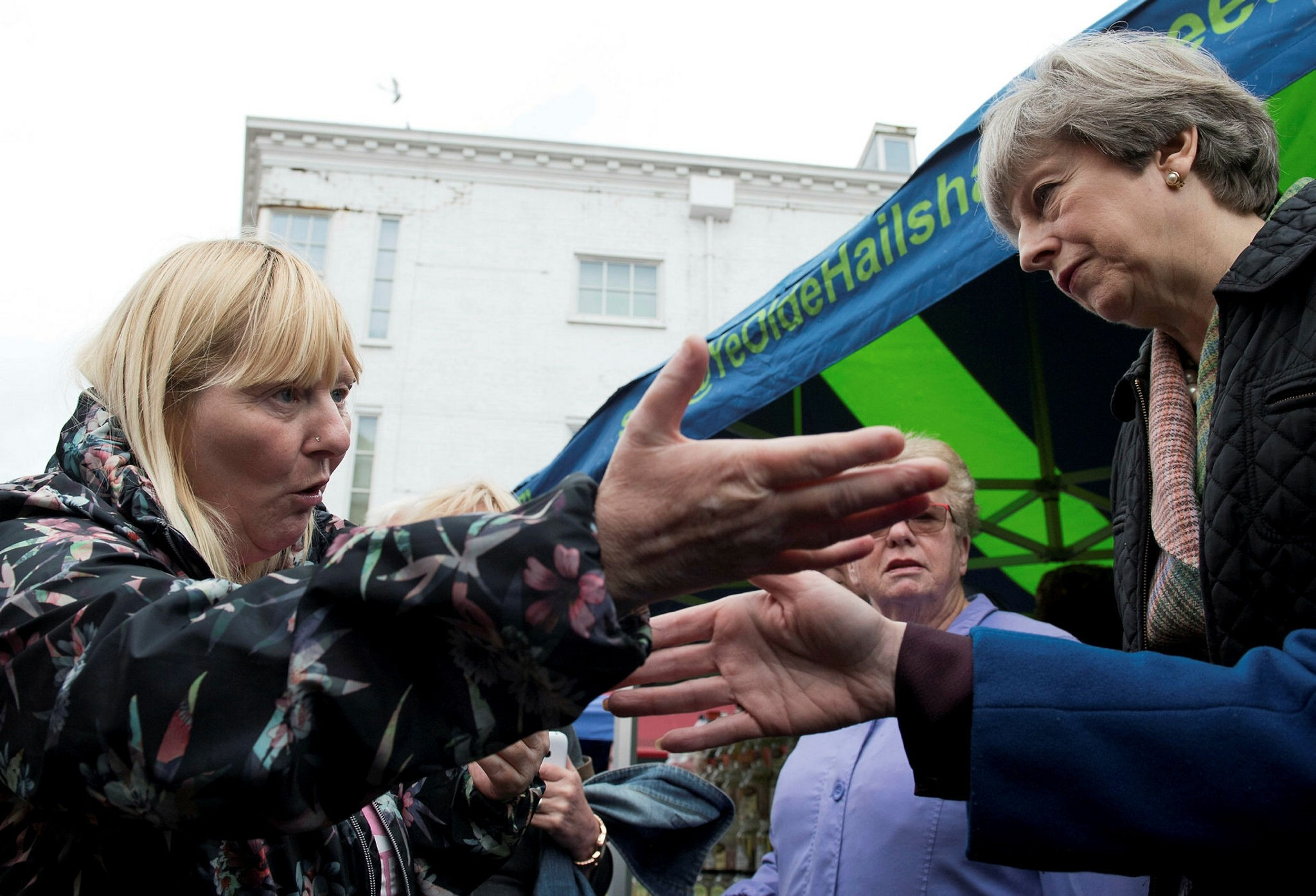Britain's Prime Minister Theresa May makes a campaign visit to Abingdon Market near Oxford, May 15, 2017. (Reuters Photo)