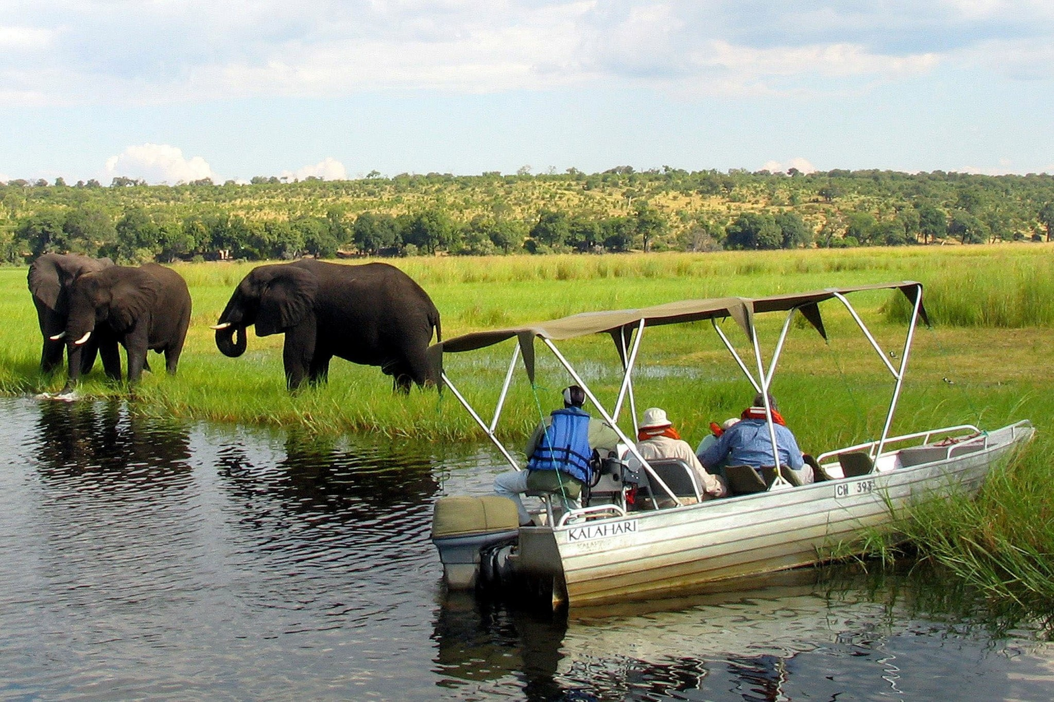 Foreign tourists in safari riverboats observe elephants along the Chobe river bank near Botswana's northern border. (Reuters Photo)