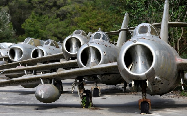MiG-15 jet fighters are pictured in Kucova Air Base in Kucova, Albania, October 3, 2018. Picture taken October 3, 2018. (Reuters Photo)