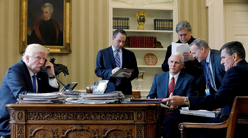 U.S. President Donald Trump (L-R), joined by Chief of Staff Reince Priebus, Vice President Mike Pence, senior advisor Steve Bannon (Reuters File Photo)