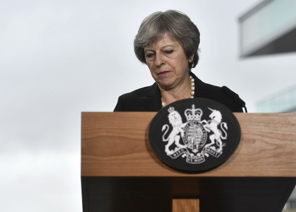 British Prime Minister Theresa May gives a speech at Waterfront Hall, Belfast, July 20.
