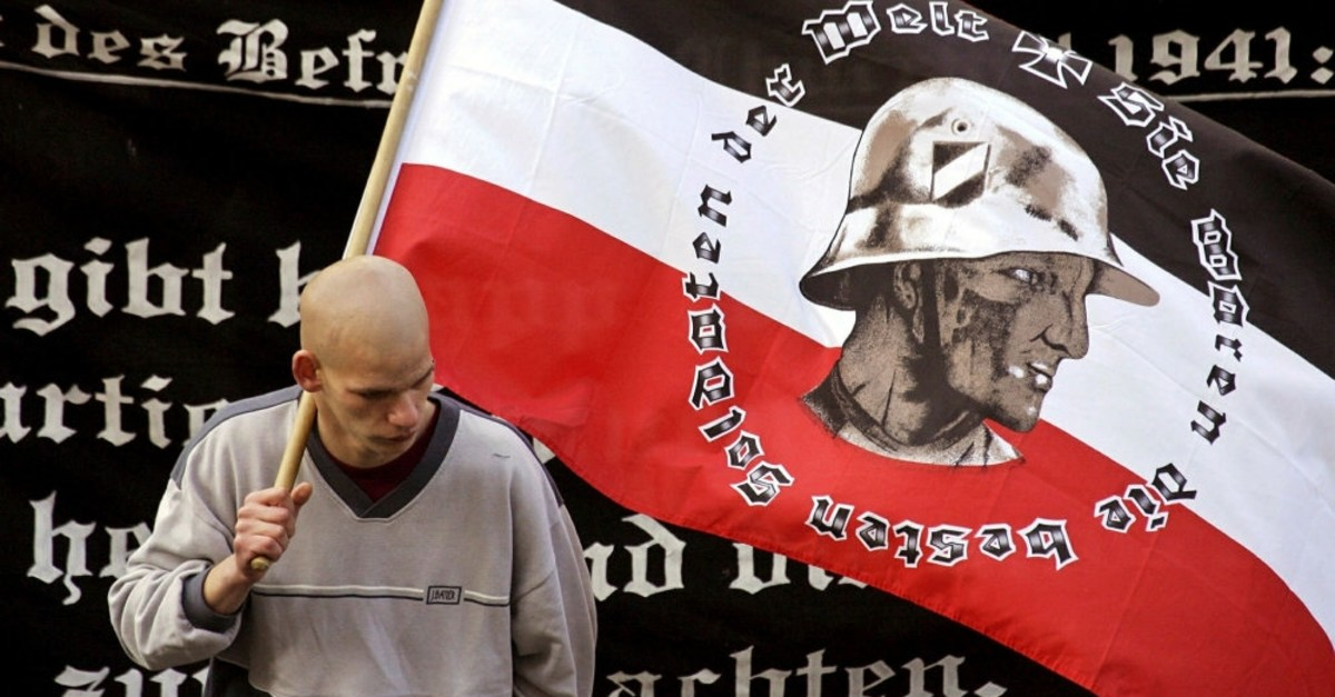 A supporter of Germany's far-right National Democratic Party (NPD) at a Berlin rally.