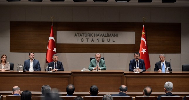 President Recep Tayyip Erdoğan addressed reporters at Istanbul's Atatürk airport before he departed for New York to attend the U.N. General Assembly, Sept. 21, 2019.
