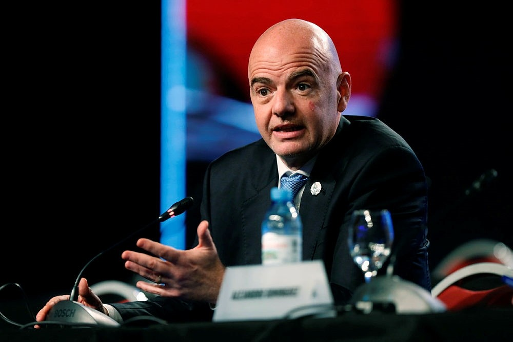In this file photo dated April 12, 2018, FIFA President Gianni Infantino speaks during the annual conference of the South American Football Confederation, CONMEBOL, in Buenos Aires, Argentina. (AP Photo)