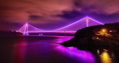 Мосты в Стамбуле осветили в фиолетовый в честь Международного дня борьбы с эпилепсией