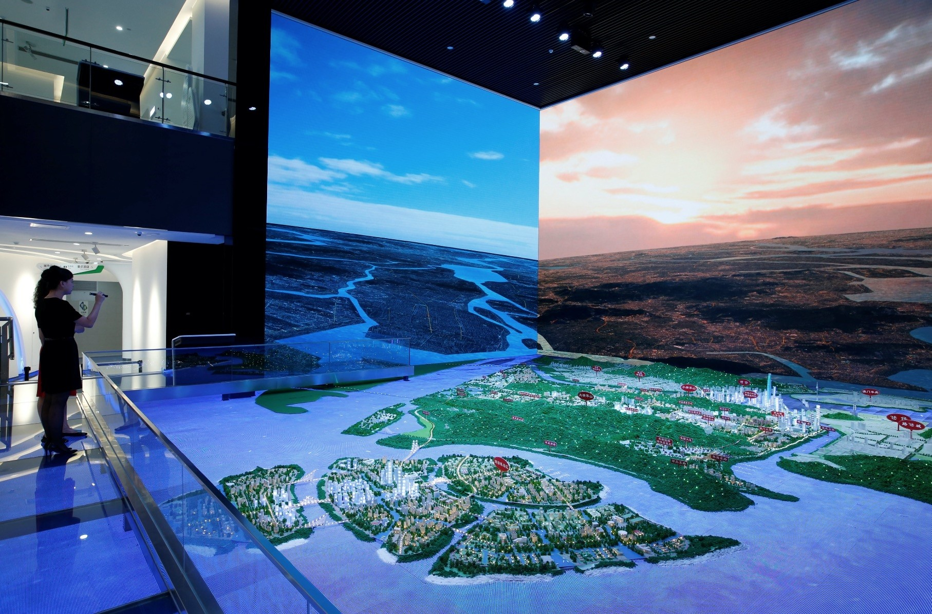 A layout of Hengqin under development is displayed inside a government showroom at Hengqin Island adjacent to Macau.