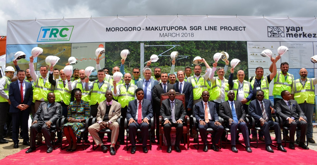 The inauguration ceremony of the Morogoro-Makutupora portion of Turkish Yapu0131 Merkeziu2019s $3.1 billion railway construction, which is currently the largest investment in the country, March 2018.