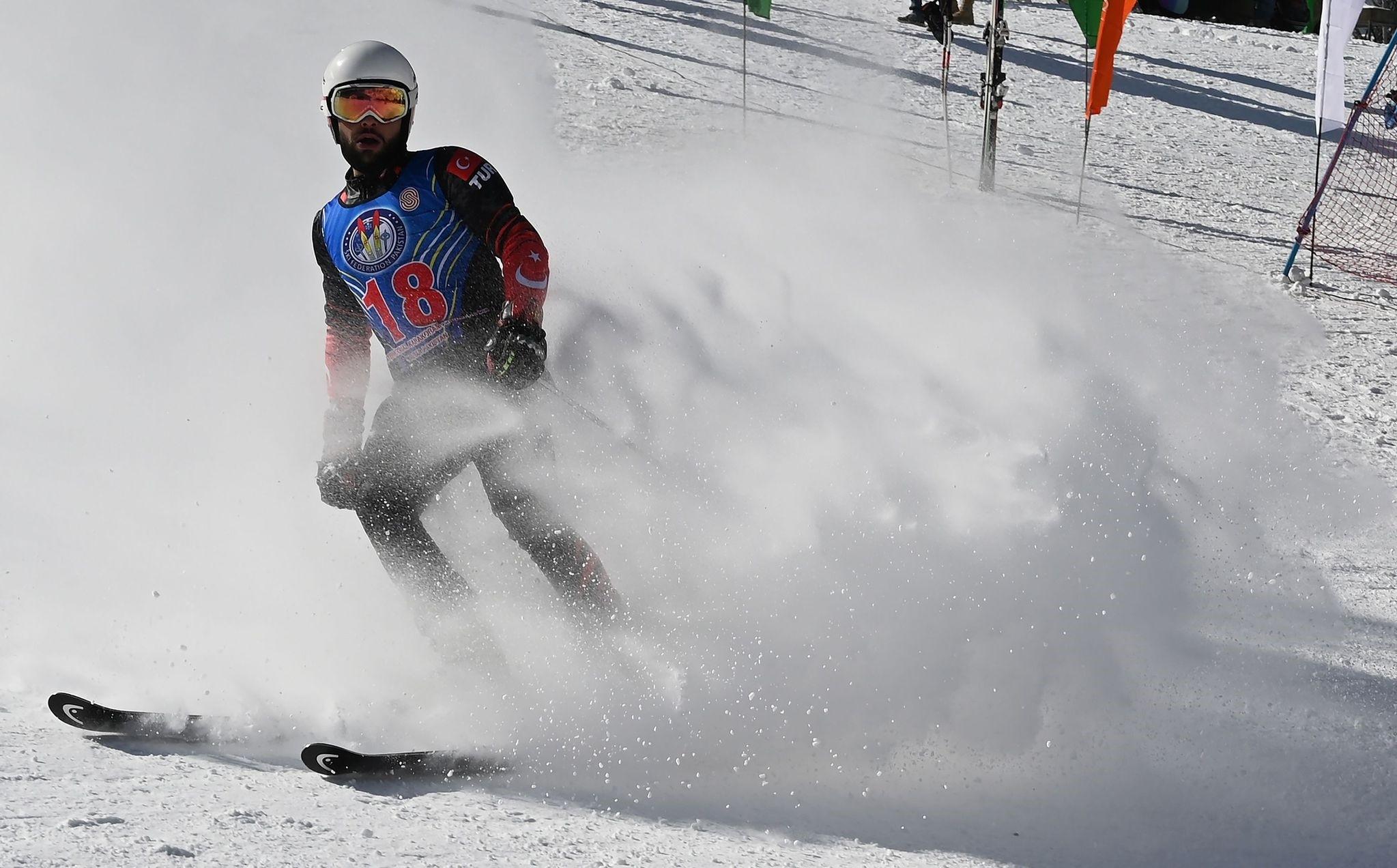 Turkish skier Berkin Usta takes part in an international alpine ski event in Naltar Ski Resort, Jan. 29, 2019.