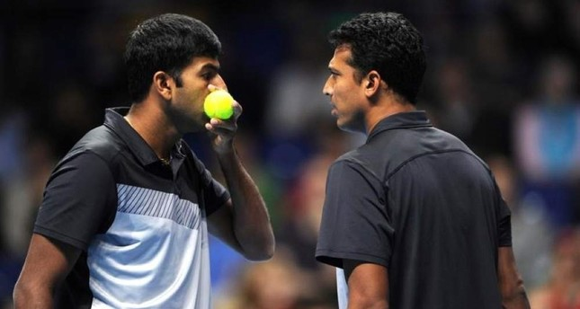India's Bhupathi and Bopanna during their doubles match in London. Reuters Photo