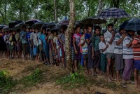 Rohingya villagers in Myanmar beg for safe passage