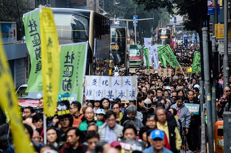 Protesters take part in the annual New Year's Day pro-democracy rally in Hong Kong on Jan. 1, 2018. (AFP Photo)